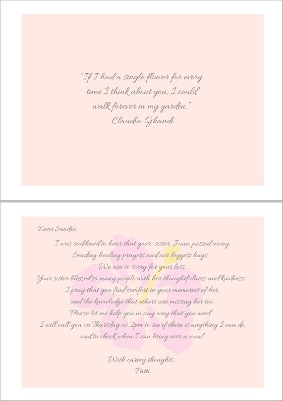 Example of a heartfelt sympathy card message for a friend or loved one who has lost their sister. #loveliveson