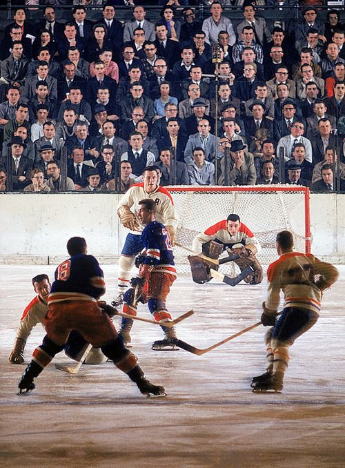 Jacques Plante (goalie) Montreal Canadiens vs. NY Rangers by John G. Zimmerman SI (Dec. 18, 1957)