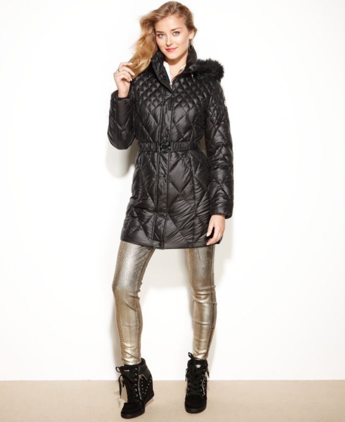 Guess Coat Hooded Faux Fur Trim Quilted Puffer