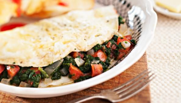 A Damn Good Egg White Omelet Recipe Ingredients: Eggs, Onions, Spinach, Garlic and Tomatoes: follow the pic for detailed recipe.