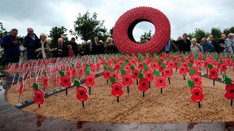 "A new permanent war memorial titled ""Never Forget"" has been unveiled at the National Memorial Arboretum, UK"