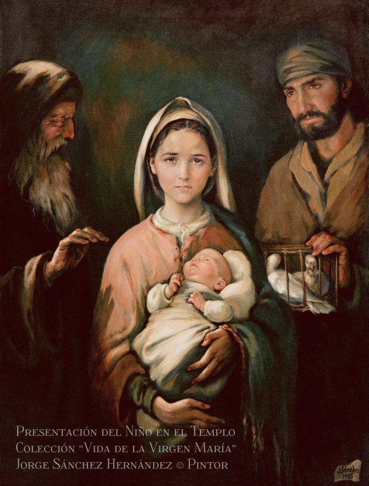 Presentación del niño en el templo, por el pintor mexicano Jorge Sánchez Hernández