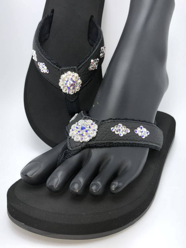 "AB Diamond Concho - Orthopedic flip flop from our Duchess collection. Shoe consists of a molded sole bottom with built in arch support, 1/2"" high density EVA memory foam rubber, leather straps with a rolled nylon lining, and are embellished by hand with genuine Swarovski® crystals.  (Sizes 5 - 11 / no half sizes)  Embellished in Fort Worth, TX.  (www.SouthernGlassSlipper.com)"