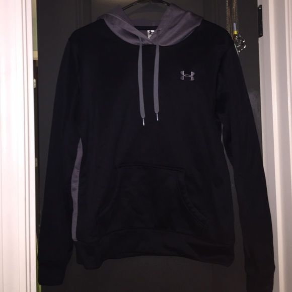 Black and Grey Under Armour hoodie Under Armour sweatshirt women's size small. The front and sleeves are black and the back and good are grey. In great condition! Worn no more than 5 times Under Armour Jackets & Coats