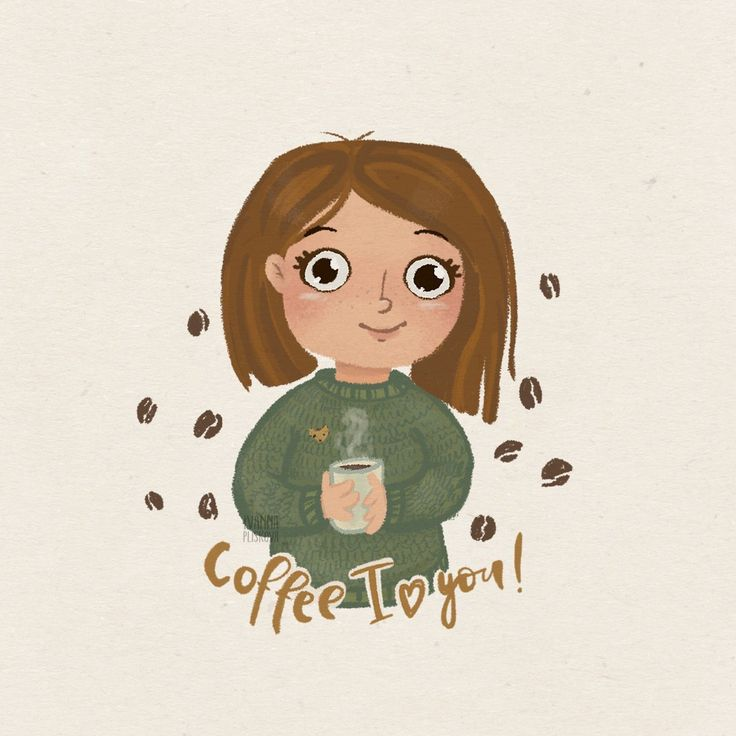 character, illustration, coffee, I love coffee, autumn, sweater, drawing, girl