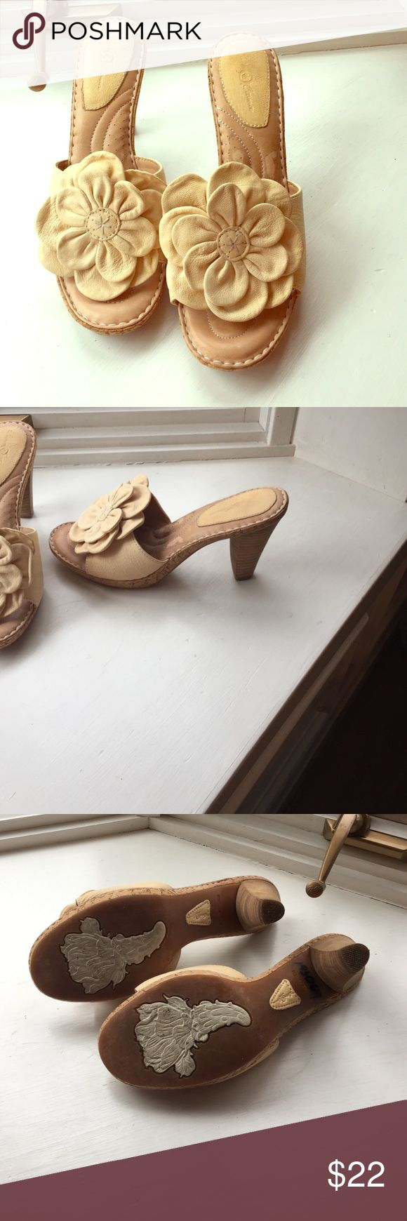 Born Crown cream sandals. Size 9 Born Crown adorable cream sandals. They are 3.5 inch heels. These shoes are great for Summer and really cute! Born Crown Shoes Sandals