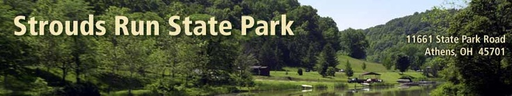 Strouds Run State Park - Athens, Ohio =  campground, group camp, boating, boat rental, fishing, hiking/biking trails, bridle trails, swim beach, scuba diving, picnic, shelters, hunting, sledding, cross-country skiing, basketball, playground, volleyball