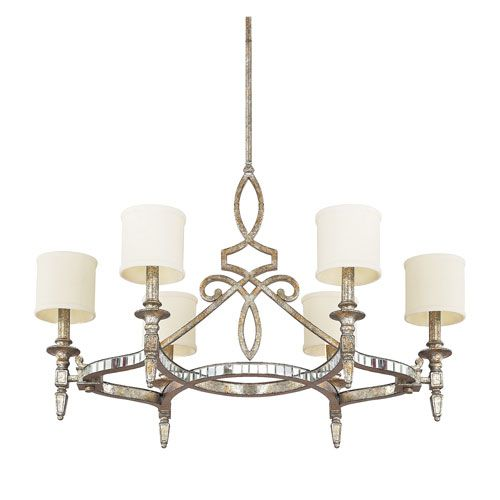 Palazzo silver and gold leaf six light chandelier capital lighting fixture company candles