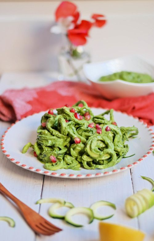 Zucchini Noodle Pasta with Creamy Pesto | www.8thandlake.com Zucchini noodles are a refreshing and light take on pasta, especially when layered in creamy pesto sauce. Save time in the morning by preparing this quick recipe the night ahead for a healthy and filling lunch at work or university.