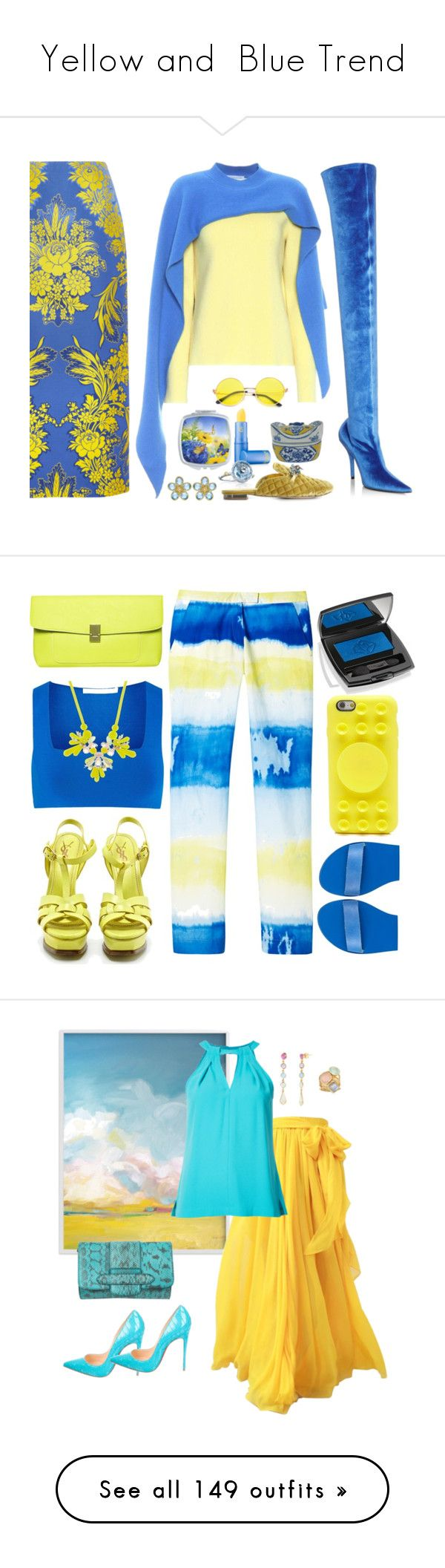 """""""Yellow and  Blue Trend"""" by yours-styling-best-friend ❤ liked on Polyvore featuring Lipstick Queen, Robert Clergerie, Balenciaga, J.W. Anderson, Pierre Hardy, Gucci, Le Silla, Tacori, Yves Saint Laurent and Dorothy Perkins"""