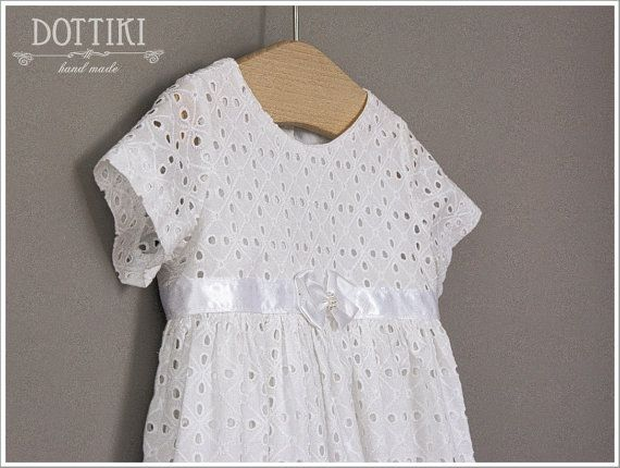 Baby Girl Christening Dress White Embroidered Cotton Dress