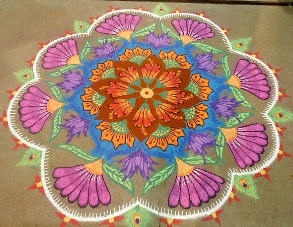 RANGOLI PHOTOS: Natural rangoli designs