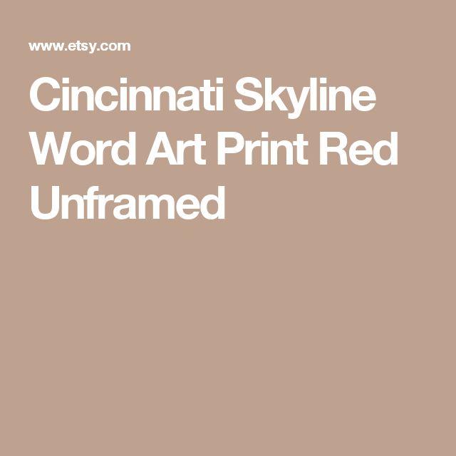 Cincinnati Skyline Word Art Print Red Unframed