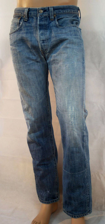 Original 90's Blue Denim Man Pants Regular Fit LEVI'S 501 W 32 L 32 Jeans Taglio Dritto Uomo Blu Vintage Anni '90 Taglia 48-W32 L 32 di BeHappieWorld su Etsy