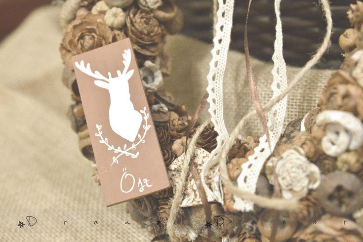 autumn wreath_ deer
