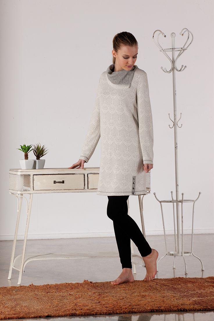 #dress #homewear #soft #white #grey #señoretta #sleepwear
