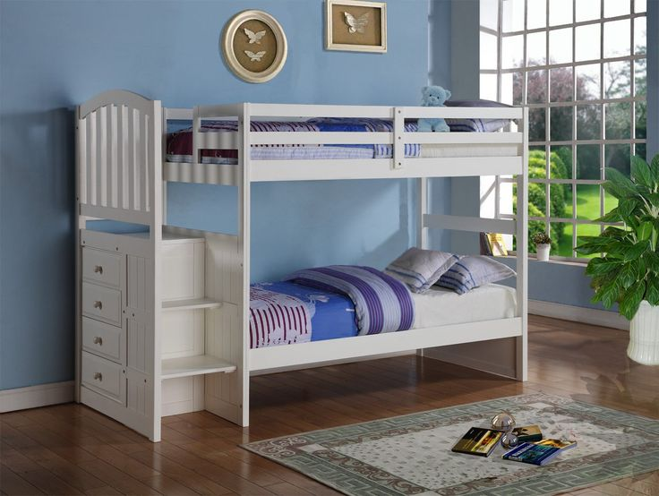 White Mission Style Staircase Bunk Bed with Built in Storage Drawers (Twin/Twin)