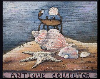 Antique Collector a small Crab Antiques Sea Shells Print by Deborah Gregg