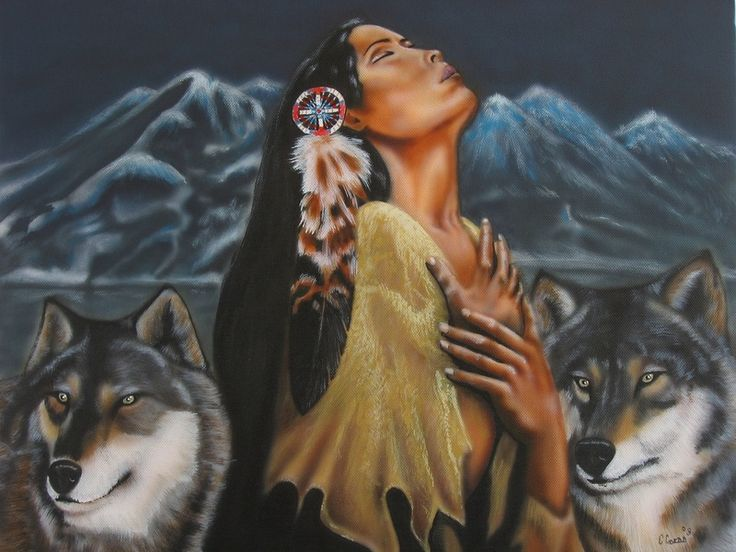 Native American Oil Paintings  | native indian girl with two wolves,praying to the spirit gods.