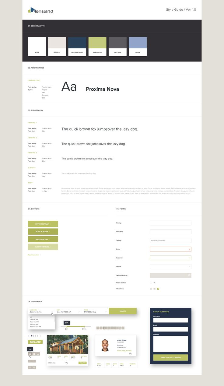 Website design, UI style guide.