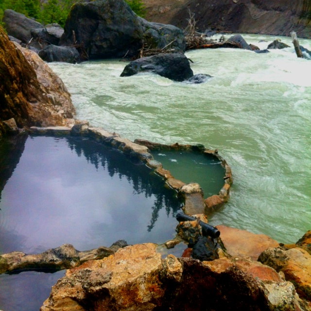 Hot spring tub right on the river near pemberton bc
