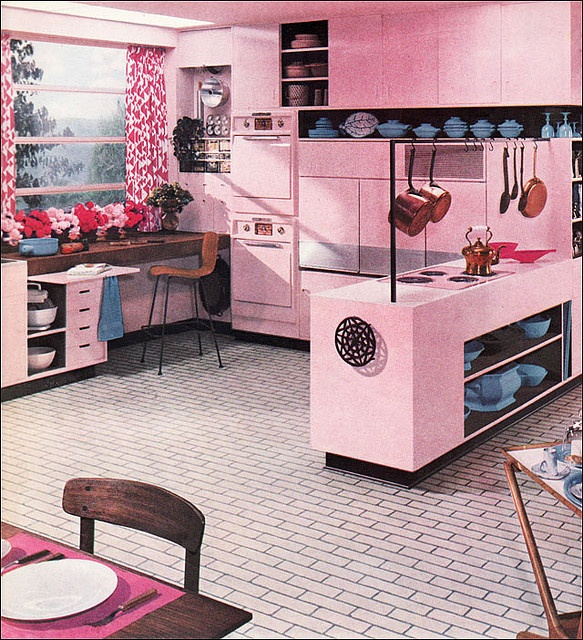 1956, Better Homes & Gardens, Armstrong kitchens ad. Although my dream kitchen would be pink, this would benefit from a complimentary color so it looked less like it was painted with a hose.