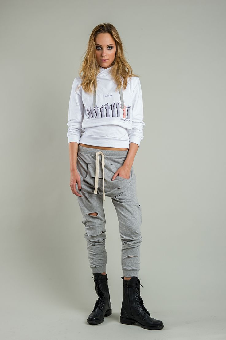 Women's grey ripped harem pants