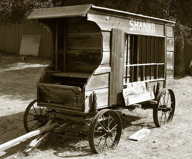 This old Paddy Wagon was used in Shanico to haul the bad boys off to jail. A guard road shotgun on the top. Shanico has a colorful history as a wild town in the early days. ... A ghost town, in Central Oregon
