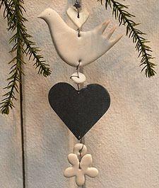 Image of HANDMADE Hanging Ceramic Heart Dove Star