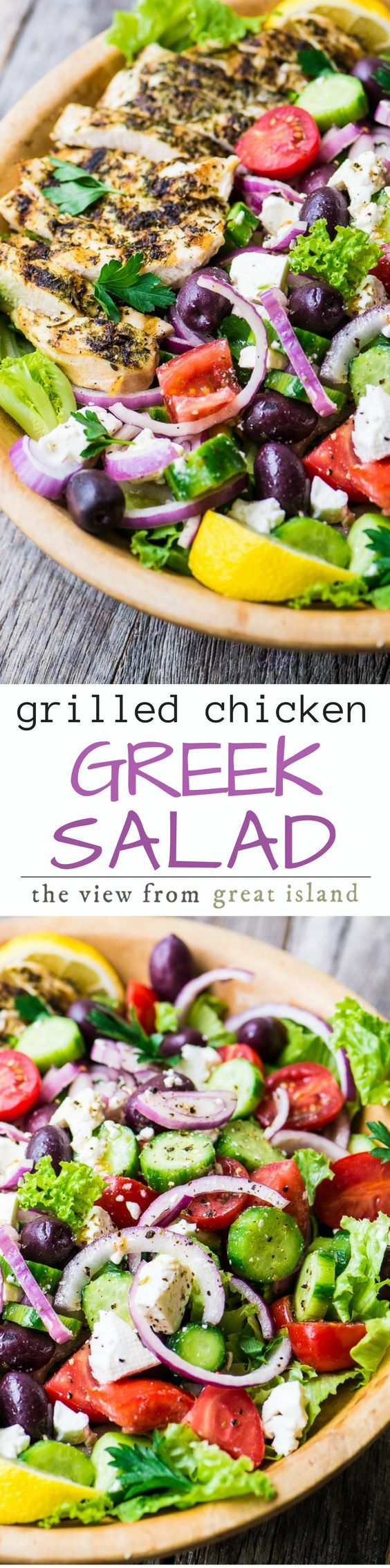 Grilled Greek Chicken Salad ~ if you love a great main course salad in the warmer months like I do then this vibrant Mediterranean bowl will win you over for sure. I've married a classic Greek salad with tender grilled chicken breasts for a light yet totally satisfying meal. | main course salad | chicken | Greek food | mediterranean diet | whole 30 | Paleo | healthy |