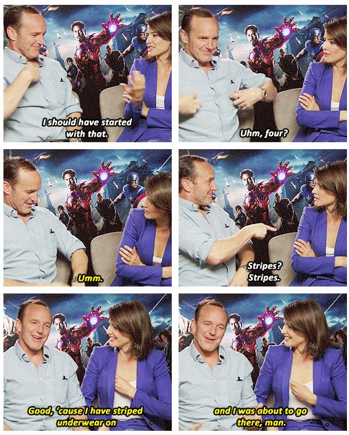 """Clark Gregg  Cobie Smulders, playing Charades ...Cobie: It's a movie, one word, I've should had started with that ..Clark: Good, 'cause I have striped underwear on and I was about to go there, man."""" http://pinterest.com/yankeelisa/marvel-s-the-avengers-4/"""
