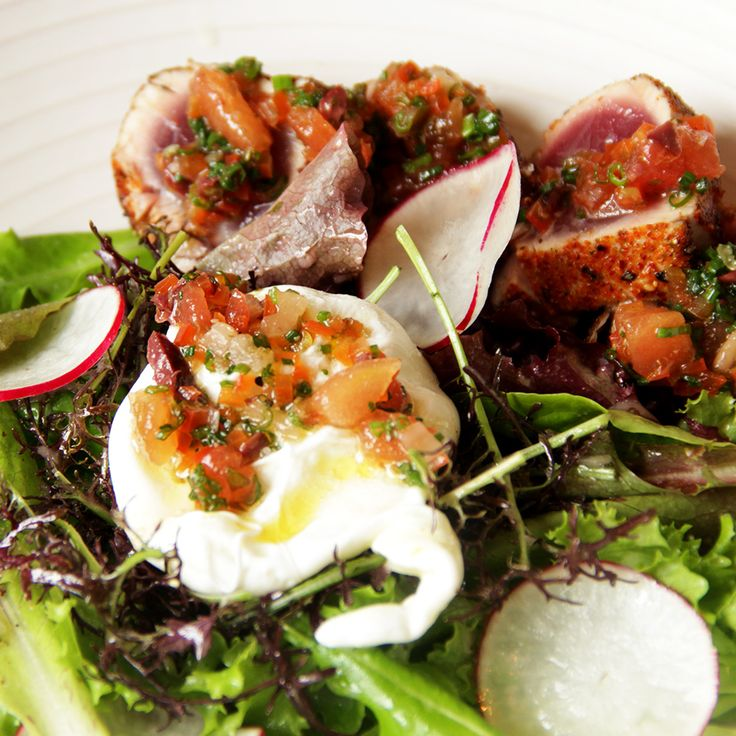 Here's a beautiful Yellowtail Tuna Salad with a Poached Egg by Jason Fullilove