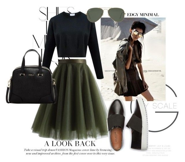 """Edgy Minimal - Army Green"" by eiram-schultz on Polyvore featuring Rika, Chicwish, Furla and Ray-Ban"