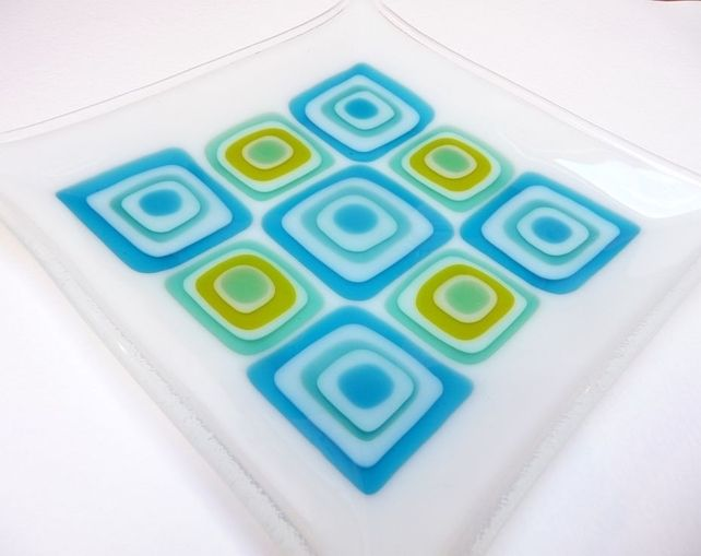 Fused Glass dish Blue Squared  17cm £28.00