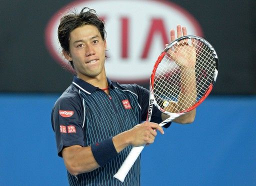 全豪オープンテニス(Australian Open Tennis Tournament 2014)、男子シングルス3回戦。試合に勝利し観衆の声援に応える錦織圭(Kei Nishikori、2014年1月18日撮影)。(c)AFP=時事/AFPBB News