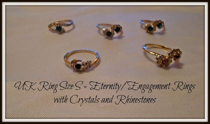Engagement Eternity Dress Rings Gold Plated Crystals & Rhinestones - UK Size S