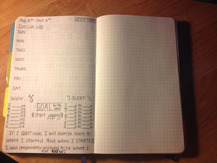 weekly exercise journal inside the bullet journal