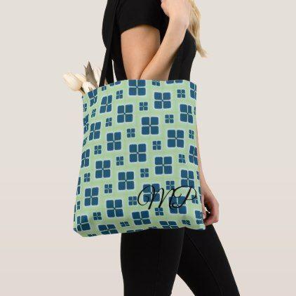 Blue and White Retro Windows Pattern Tote Bag - retro gifts style cyo diy special idea