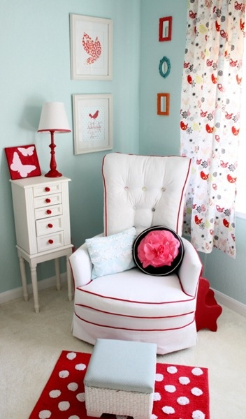 """Great Color Scheme...light blue/aqua and red .. instead of flowers do a more """"boy"""" type thing because little boys love the color red"""