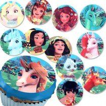 12 Zucker-Muffinaufleger Mia and Me, mit den Charakteren aus der Serie, 4,5cm Durchm.