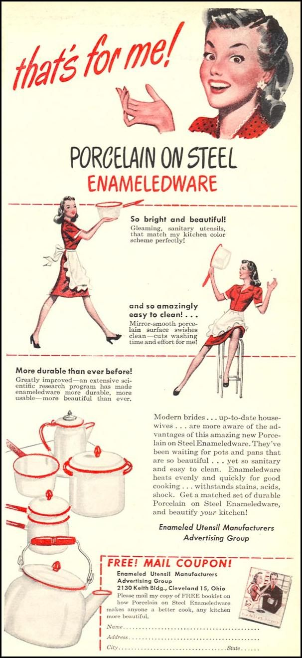 PORCELAIN ON STEEL ENAMELEDWARE  WOMAN'S DAY  06/01/1946   - This is the type of cookware my grandmother used.    I love enamelware!!!!!!  Have a whole collection...