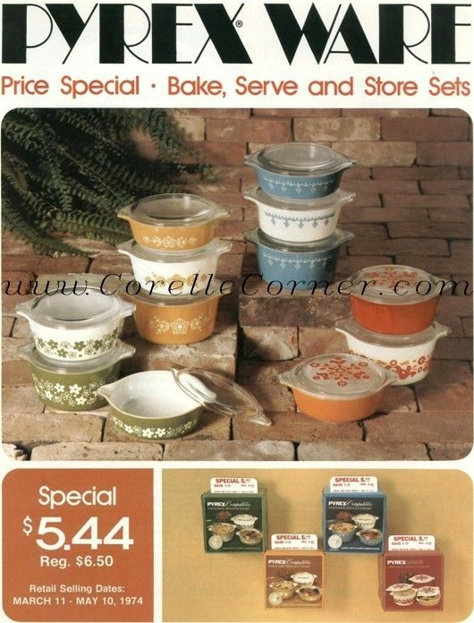 Pyrex Ware price promotion.  Image from 1974 brochure.