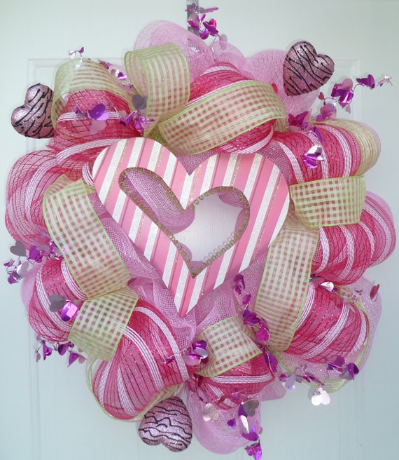 Heart Valentines Pink Green Deco Mesh Wreath By