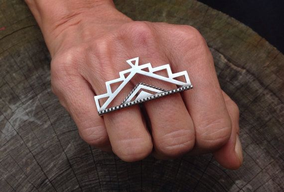 Maya knokkel stofdoek ring geometrische Azteekse dubbele