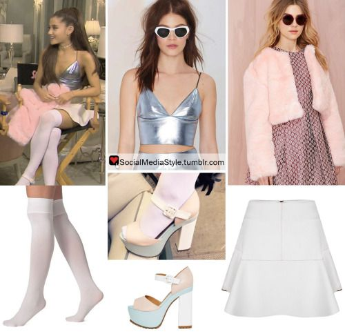 "Buy Ariana Grande's ""Entertainment Tonight"" / ""Scream Queens"" Pink Faux Fur Coat, Silver Crop Top, White Skirt, White Over-The-Knee Socks, and Pastel Platform Sandals, here!"
