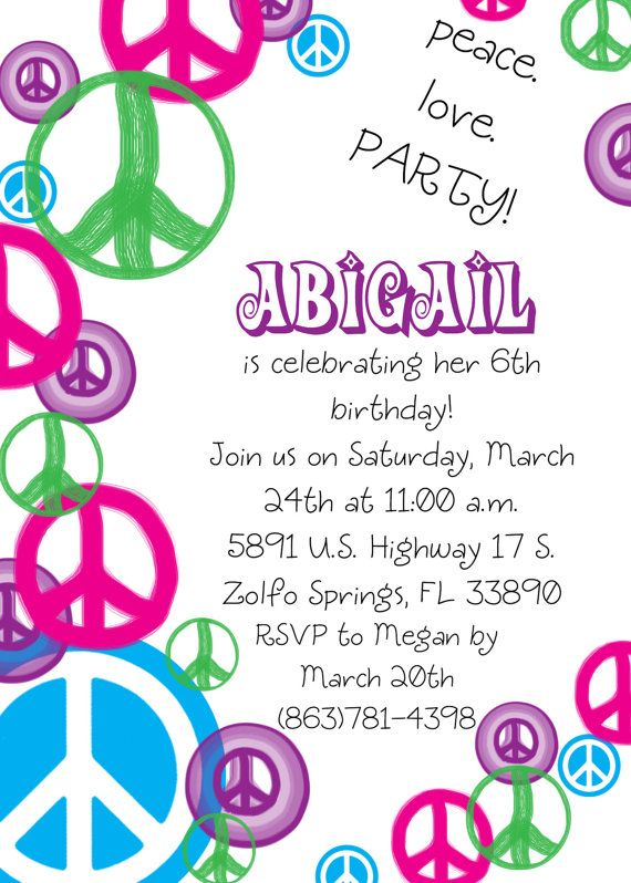 Vibrant Peace Sign Birthday Invitation by eversosweetdesigns, $15.00