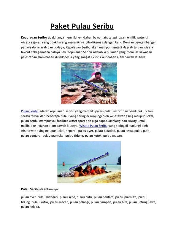 Paket pulau seribu by @wijayatamatours slideshare.net/wijayatamatour… via @SlideShare
