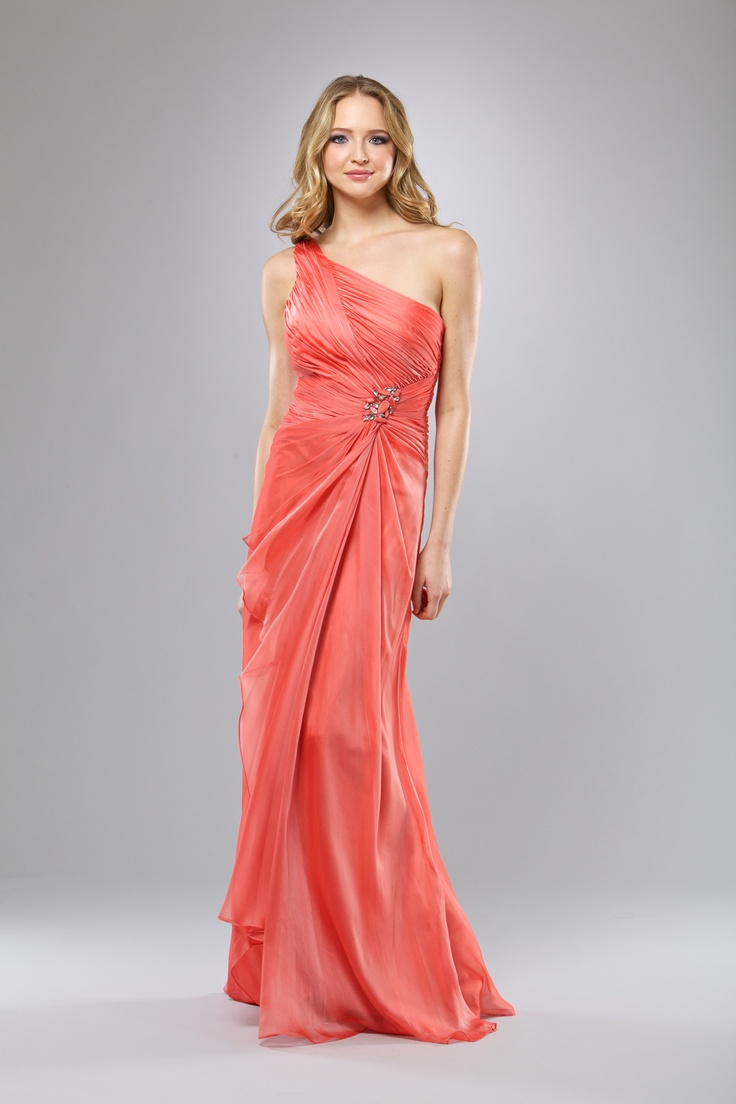 Amarisso New York Haute Couture Dresses. Long Coral Dress in Chiffon. Spring- Summer 2014. Suitable for weddings, parties, proms