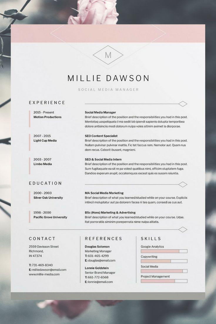 Millie Resume/CV Template   Word   Photoshop   InDesign   Professional Resume Design   Cover Letter   Instant Download   Professional CV Template   FREE Cover Letter