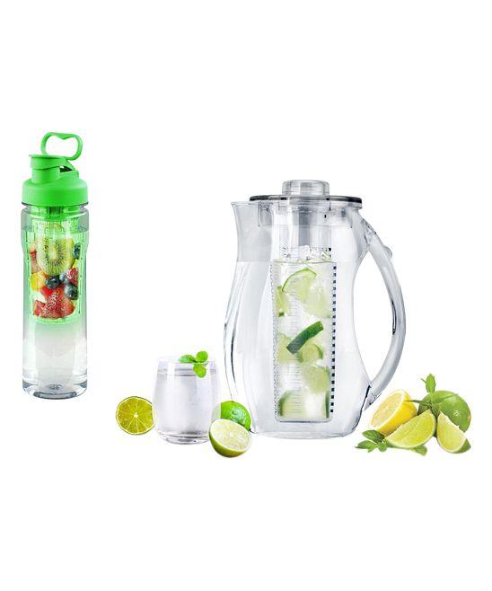 Green Fruit-Infuser 28-Oz. Water Bottle & 2.5-L Pitcher
